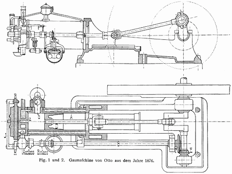 Nikolaus Otto four cycle engine, 1876
